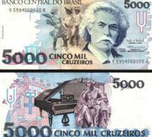 Brazil #232c, 5.000 Cruzeiros, ND (1993), UNC / NEUF - Brazil