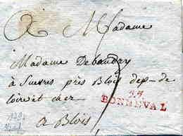 """MANCHE: """" 57 / BONNEVAL """" Linéaire Rge + TM 7 / LAC De 1797 Datée De Moreville Pôur Blois B - Postmark Collection (Covers)"""