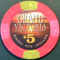 $5 Casino Chip. Grand Victoria, Rising Sun, IN. M97. - Casino