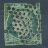N° 2 VERT FONCE ETOILE - 1849-1850 Ceres