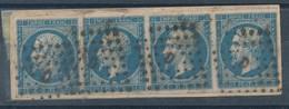 N° 14 BANDE DE 4 TIMBRES - 1853-1860 Napoleon III