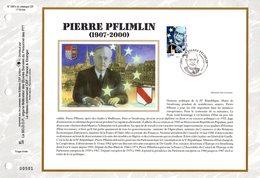 """"""" PIERRE PFLIMLIN / ETOILES """" Sur Feuillet CEF N°té En SOIE De 2007 N° 1897s. N° YT 4078. Parfait état FDC - Institutions Européennes"""