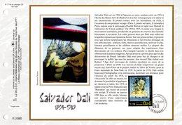 """"""" SALVADOR DALI """" Sur Feuillet CEF N°té En SOIE De 2004 N° 1719s. N° YT 3676. Parfait état FDC - Moderne"""