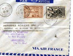 AVIATION - Enveloppe AIR FRANCE -WW 2 MARIGNANE Aéroport - SERVICES AÉRIENS SPÉCIAUX BLOCUS DJIBOUTI - 1942 - WW2 - Aviation
