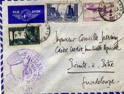 AVIATION - Enveloppe AIR FRANCE Par Avion - Cachets : Premier Service Postal Aérien France-Antilles Via NATAL - 2 Scans - Aviation