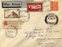 AVIATION - Enveloppe Recommandée Par Avion LE BOURGET Port Aérien Pour Karachi (Indes Anglaises) - 1931 - 2 Scans - Aviation