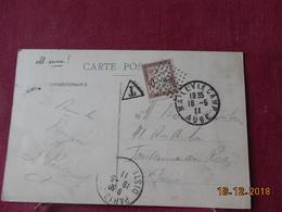 Carte De 1911 Avec Cachet Losange Petit Point Et Ancre Au Millieu - Marcophilie (Lettres)