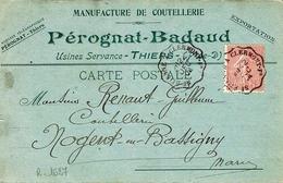 1904- C P Commerciale  De Coutellerie Affr. 10 C Semeuse Ann. Cons. Ligne St ETIENNE A CLERMONT -Fd - Marcofilia (sobres)