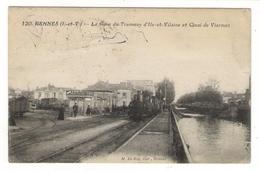 ILLE-ET-VILAINE  /  RENNES  / LA GARE DU TRAMWAY ET QUAI DE VIARMES ( Train, Locomotive ) / Timbre-taxe BELGIQUE , Liège - Rennes