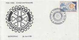 Enveloppe  FRANCE     Cinquantenaire   Du   ROTARY   INTERNATIONAL     BERGERAC   1986 - Rotary, Lions Club
