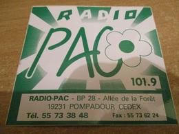 Autocollant RADIO FM PAC POMPADOUR 19  Neuf Non Décollé - Autocollants