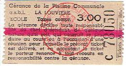 Ancien Ticket D'entrée à La Piscine Communale De La Louvière, Belgique (vers 1963) - Tickets D'entrée