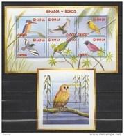 GHANA 2002 BIRDS MNH MI. 3472 - 77 BL. 442 - Birds