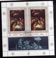 UNITED ARAB EMIRATES AJMAN 1968 CHRISTMAS NATIVITY ADORAZIONE MAGI GHERARDO DELLE NOTTI FOGLIETTO SHEET USATO USED OBLIT - Ajman