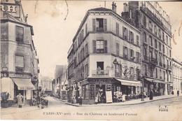 BAD- PARIS   RUE DU CHATEAU AU BOULEVARD PASTEUR  CPA  CIRCULEE RARE - Distretto: 15