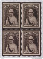 Congo 0184 SG X4  Roi Albert Deuil Without Gum - Congo Belge