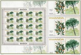 Rwanda 1191** 70Fr Arbres Feuille / Sheet De 20  -  MNH - 1980-89: Neufs