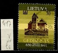 Lituanie - Lithuania - Litauen 1991 Y&T N°417 - Michel N°486 (o) - 30k Château  Grand Ducal - Lithuania