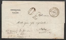 1857 - LAC - AIX EN PROVENCE - CONVOCATION FAILLITE TRIBUNAL DE COMMERCE- LETTRE REFUSÉ - Postmark Collection (Covers)