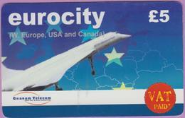 Télécarte Prépayée GB °° Eurocity £5 - Le Concorde Décolle RV °°  TBE - Royaume-Uni