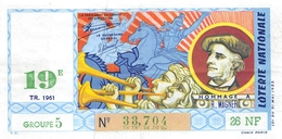 5 Billets De La LOTERIE NATIONALE, Neufs, Impeccables.1961 - Billets De Loterie