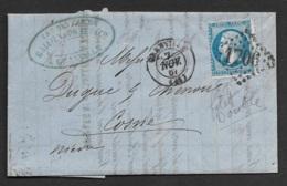 Manche-Lettre De Granville Avec N°22 (Variété,Filet Inferieur Double) - Postmark Collection (Covers)