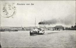 Cp Konstanz Am Bodensee, Blick Auf Den Ort Vom Wasser Aus, Dampfer - Andere
