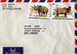 ! 1984 Burundi WWF Stamps, Airmail Cover, Bujumbura, Nashorn - Burundi