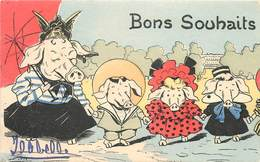 BONS SOUHAITS - Famille Cochon,carte Illustrée. - Cochons