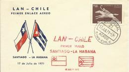 CHILE, SOBRE PRIMER VUELO SANTIAGO-LA HABANA - Chile