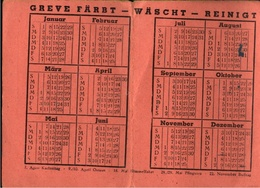 ! 1950 Taschenkalender Wäscherei Greve Kiel - Calendarios