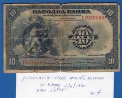 Youcoslavie   Serbie  10  Dinars  1/11/1920 - Serbie