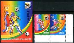 """ALBANIA 2010** - FIFA World Cup """"South Africa 2010"""" - Miniblock + Coppia MNH, Come Da Scansione. - Coppa Del Mondo"""