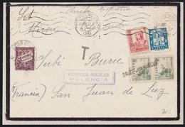 GUERRA CIVIL. 1937. PALENCIA A SAN JUAN DE LUZ (FRANCIA). BONITO FRANQUEO. MUY INTERESANTE Y RARO FRONTAL TASADO. - 1931-50 Lettres