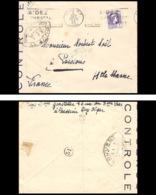 3705 Seul Sur Lettre France Guerre 1939/1945 Censure Algerie Type Alger 1945 Pour Poissons Haute Marne - Guerre De 1939-45