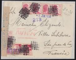 GUERRA CIVIL. 1938. DEL FRENTE A SAN JUAN DE LUZ (FRANCIA). ESPECTACULAR FRANQUEO. MUY INTERESANTE FRONTAL. - 1931-50 Lettres