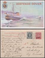 """Belgique- EP 30C Rouge - Carte Paquebot Voyagée """" Oostende-Dover """"  (DD) DC1205 - Liner Cards"""