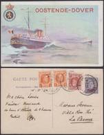 """Belgique- EP 15C Brun - Carte Paquebot Voyagée Affranchissement Houyoux """" Oostende-Dover """"  (DD) DC1206 - Liner Cards"""