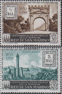 San Marino 624-625 (complete Issue) Unmounted Mint / Never Hinged 1959 100 Years Stamp - San Marino