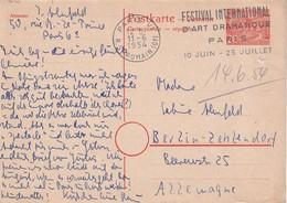 BERLIN 1954      ENTIER POSTAL/GANZSACHE/POSTAL STATIONERY  REPONSE DE PARIS - Cartes Postales - Oblitérées