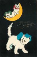 BONNE ANNÉE - Chats Caché Dans La Lune, Carte Illustrée. - Katten