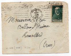 1938---tp N°377 Jean CHARCOT Seul Sur Devant De Lettre De Paris 15° Pour BELLOU / HUISNE-61-- (taches) - Marcophilie (Lettres)