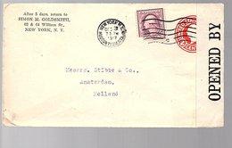 1917 WW I Censored Simon Goldsmith > Stibbe Amsterdam (847) - Vereinigte Staaten