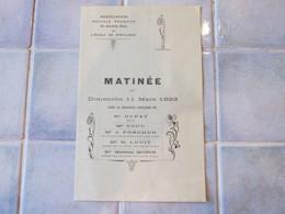 Association Sportive Des Anciennes élevés De L école De Pontlieue Programe 11 Mars 1923 - Programmes