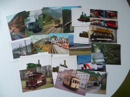 LOT DE19 CARTES  TRANSPORT  TRAIN  TRAMWAY - Railway