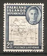 FALKLAND ISLANDS DEPENDENCIES 1949 2½d MAP SG G11b FINE USED - Falkland Islands
