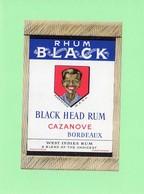 Etiquette Rhum, Rhum Black, Black Head Rum, West Indies Rum, Cazanove, Bordeaux - Rhum