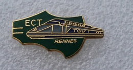 Pin's Train TGV ECT RENNES . Carte De Bretagne Découpée . Egf . émail Grand Feu - TGV