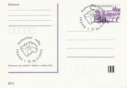 I0514 - Tschechoslowakei (1990) Praha 1: Die Kommunalwahlen; Prag - St.-Veits-Dom; Karte Der Zentralregion - Geographie
