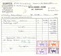 Lot 2 Documents Commerciaux MADAGASCAR Tanjombato Avec Timbres Fiscaux 5F 20F 50F 100F - Madagascar (1960-...)